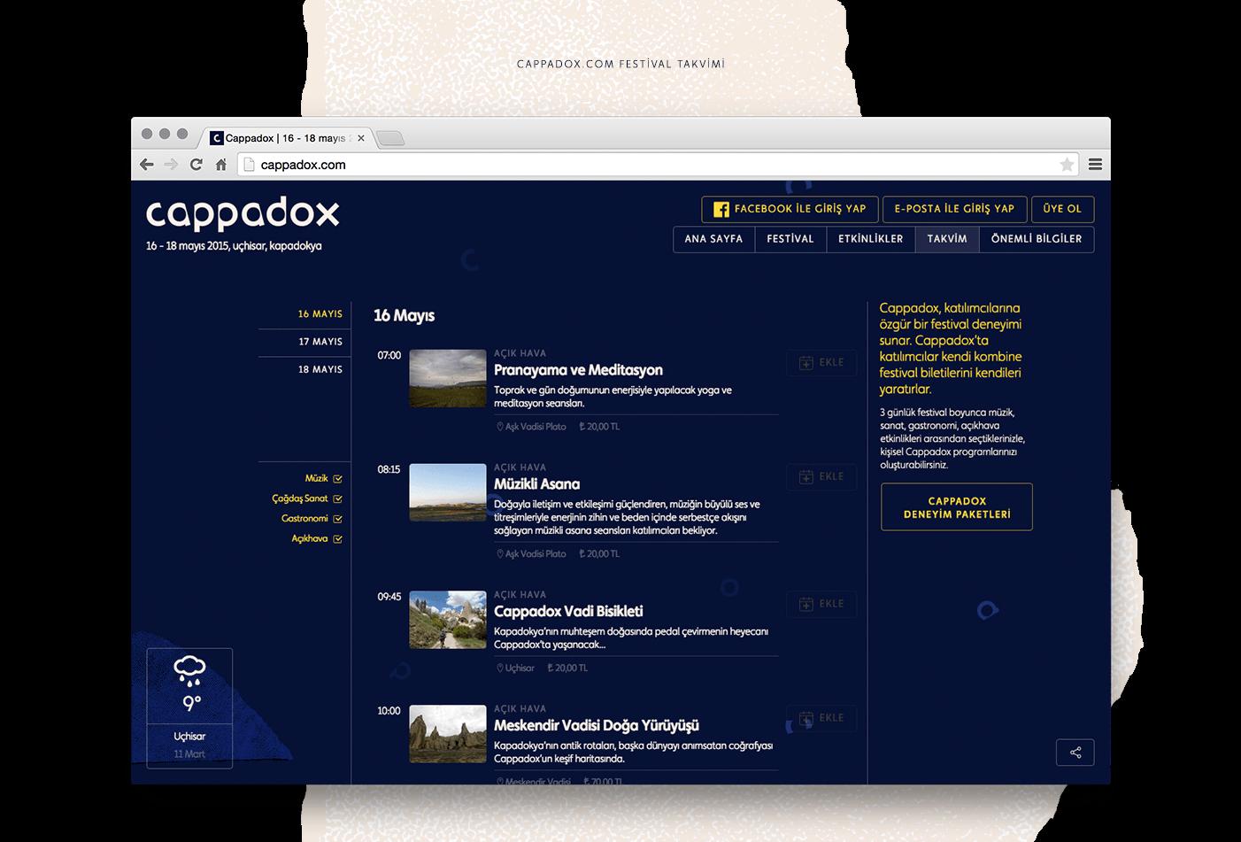 Cappadox festival takvimi